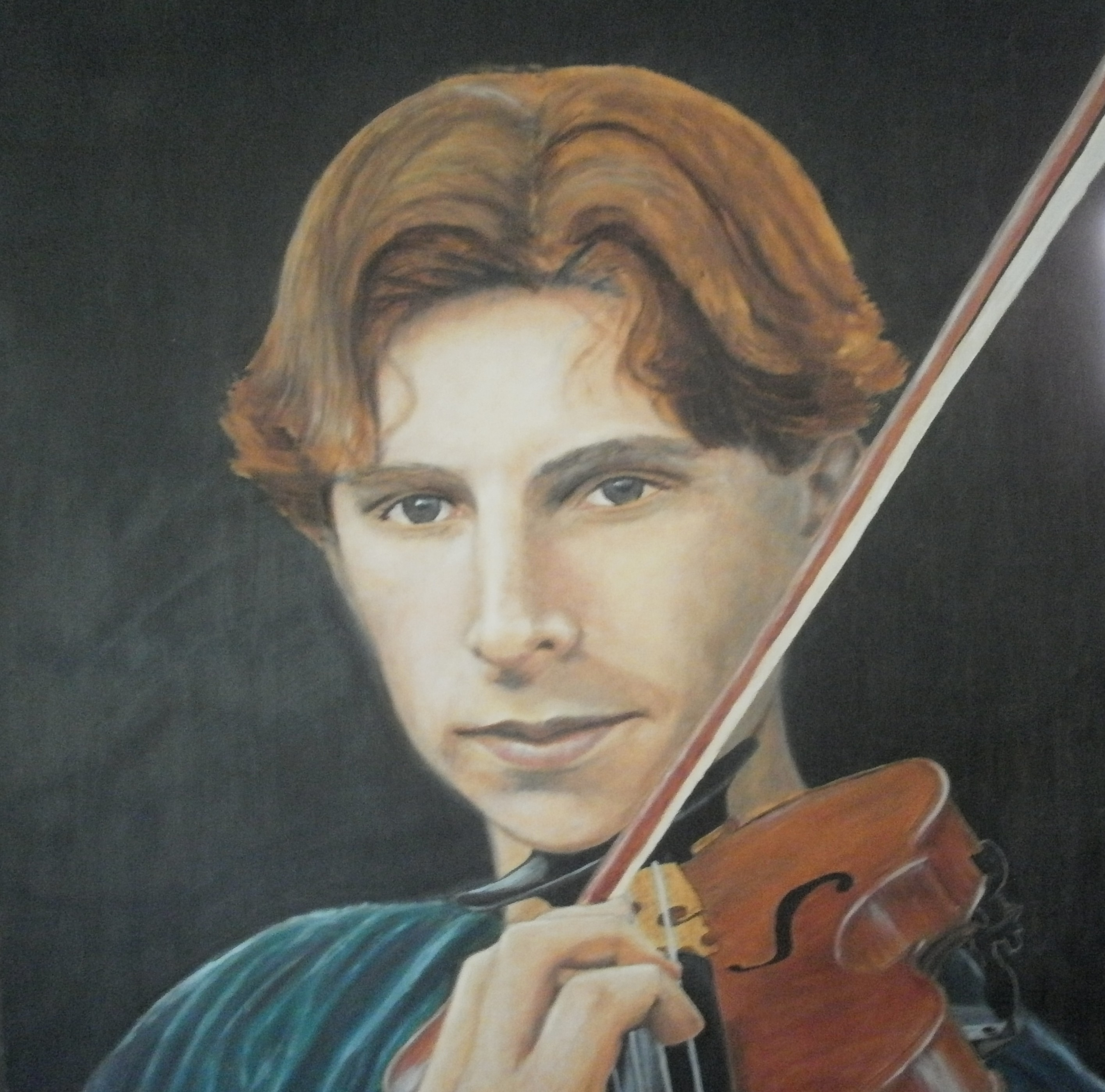 """Violinist, Orin"", oil on board, 2' x 2'"