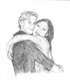 """Happy Couple"", Chauncey and Makino"", graphite, 8"" x 10"""